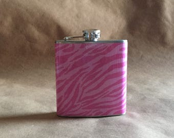 Ladies' Gift Flask Pink on Pink Zebra Print 6 ounce Stainless Steel Girl Gift Flask