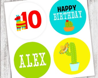 Fiesta #Party #Stickers, Gift #Tags or Cupcake #Toppers