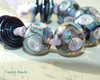 "Handmade Lampwork beads ""Monet "" - Creeky Beads SRA"