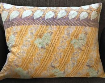Pillow Cushion Cover Indian Flowers 14 x 18 inch 35 x 45 cm Pastel Colours. Kantha Pillow Cover.