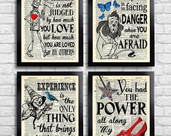 The Wizard of Oz Art Print Set Kid Room Decor OZ Wall Art Set of Prints Dictionary Art Print Set of 4 Prints Gift for Her Movie Poster 060