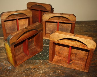 Set of 5 Antique Country Primitive Wooden Shadow Boxes; Drawers, Displays; Rustic, Pine, Cottage, Farm, Folk Art