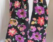 """Black Floral Soft Silk Scarf // 11"""" x 50"""" Long // Best of the Best"""