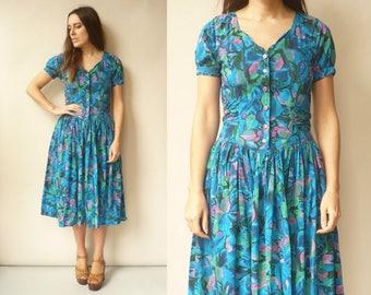 Vintage 90's Grunge Bohemian Floral Button Down Midi Dress Size Small