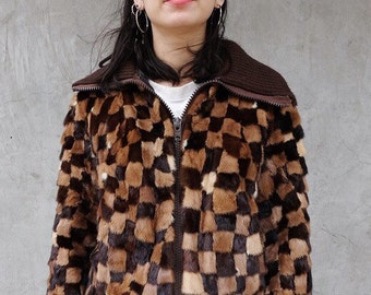 Vtg PATCHWORK MINK Zip Up Jacket