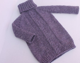 Hand Knit Baby Girl Alpaca Tunic. Purple Baby Girl Tunic. Alpaca Baby Girl Sweater.