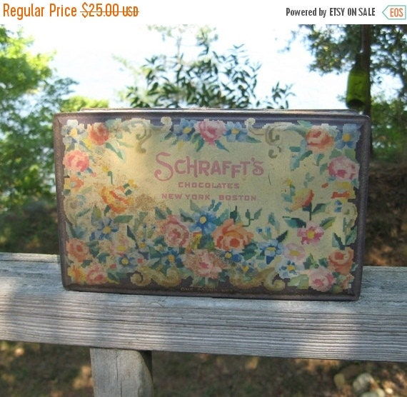 ON SALE Vintage Tin Shabby Chic Roses Schraffts Chocolates New York Boston Advertising Country Cottage Collectible
