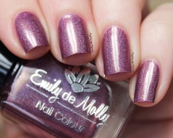 """Nail polish - """"LE 44"""" Dark purple linear holographic polish with shimmer and flakes"""