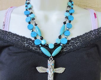 Chunky Turquoise and Magnesite Necklace