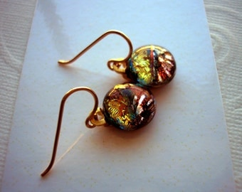Dichroic Glass Earrings Copper and Gold with Silver Flecks Petite Dangles 14K Gold Earwires Fused Glass Jewelry Autumn Colors Russet Color