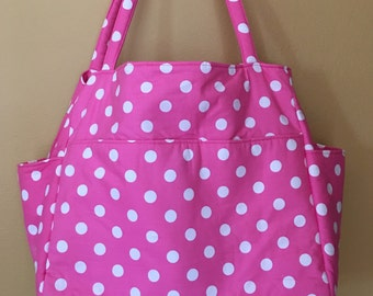 Tina #1741 Pink and White Polka Dot Purse, Diaper Bag, Extra Large Tote, Project Tote, Knitting Bag, Knitting Tote, Project Bag, Bags, Totes