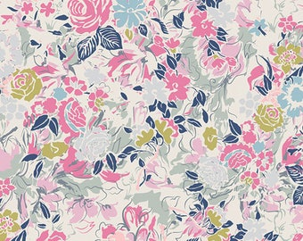 Pink Green Grey and Blue Floral Rayon Challis, Millefiori Ethereal by Art Gallery, 1 yard