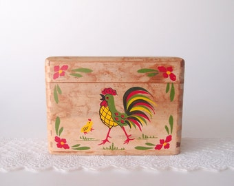 1950s Rooster recipe box hand painted wood Made in Japan Mid Century Modern