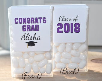 Graduation Party Favors, Tic Tac Labels Mint Favors, Graduation, Mint Favors, Congrats Grad, Personalized Party Favors - Set of 24 Labels