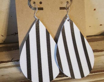 Leather Earrings, Black and White Stripes, Statement Earrings, 100% Leather, Tear Drop, Lightweight