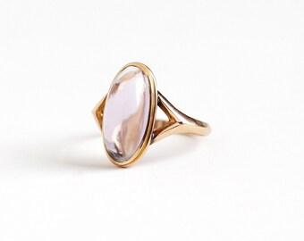 Vintage 10k Rosy Yellow Gold Amethyst Cabochon Ring - Size 6 1/2 Light Purple Rose De France Oval Gem February Birthstone Fine Jewelry