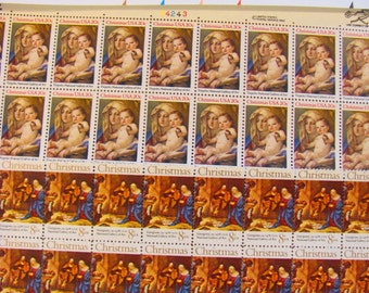 Christmas Mega Mixture 162 UNused Vintage US Postage Stamps Traditional Religious Catholic Virgin Mary XMas Save the Date Holiday Philately