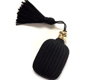 Black Pressed Satin Glass Perfume Scent Bottle with Tassel and Dauber