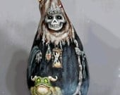 """Mini Me Ghoul, reaper, Halloween, hand painted, 7"""" tall"""
