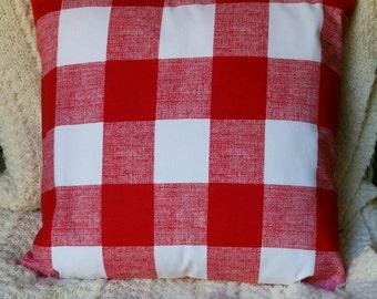 SALE RED Buffalo Check Pillow, Toss Pillow, Black Buffalo Check Pillow Cover, Euro Pillow, Sham, Lumbar,Throw Pillow,Bedding,Various Sizes