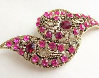 Pink & Red Ribbon Twist Vintage Brooch