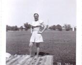 Vintage Photo - Girl on a Picnic Blanket - Vintage Photograph, Ephemera, Vernacular, Snapshot (C)