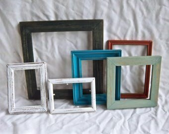 Salvaged Vintage Hand Painted Solid Wood Framing Set Vintage Home and Living Vintage Small Frame Set Needlework Paintings Art Frame Decor