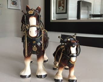 Vintage Ceramic Staffordshire Clydesdale Horse Figurine/PAIR/Melba Ware English Porcelain/ By Gatormom13