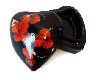 Heart Trinket Box - Kashmir Style Papier Mache- Vintage Thailand Heart Shaped Box