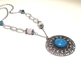 Blue medallion necklace,blue,medallion,jewelry,necklace,beads,boho,trendy,gift,chain links,asymmetric,crystals,jewelsbynanna