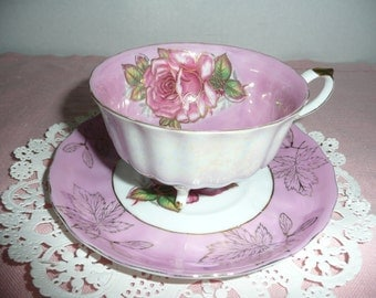 Royal Halsey Rose and Gold Lusterware Footed Teacup and Saucer, Rose Design with Gold Leaves