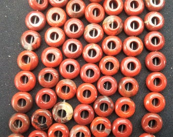20pcs/lot - 10mm Natural Red Jasper Donut Ring Beads  -6mm Big hole-central drilled