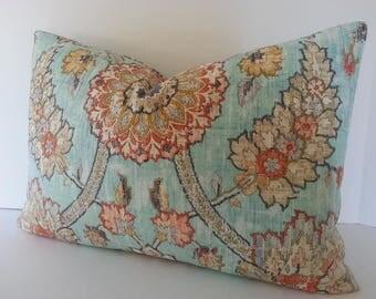 Waverly Clifton Hall Opal Pillow Cover / Orange / Grey / Ivory / Tan / Aqua