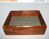"""HOLIDAY SALE Valet Box in Bubinga. Wooden Tray Upholstered in Silk. 7.5"""" x 6"""" x 2.5"""". Dresser Box. Remote Tray. Coffee Table Tray."""