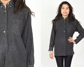 BLACK DENIM SHIRT.  Stonewash Jean Shirt. 1990'S Grunge. Button Down Long Sleeves. Size M/L. Vintage Minimalist Mod Charcoal Black Denim.