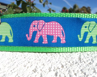 "Large Dog Collar 1.5"" width Polka Dot Elephants Quick Release or Martingale collar adjustable - S - XL sizes - detailed info within"