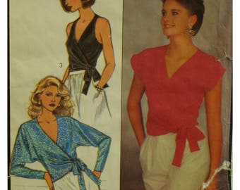 80s Wrap Blouse Pattern, V-neck, Sleeveless, Side Waist Tie, Short Sleeves, Batwing Sleeves, Evening Wear, Style No.4628 UNCUT Size 12 14 16