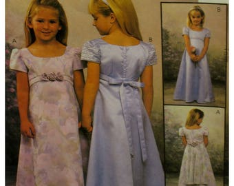 Flower Girl Dress Pattern, Empire Waist, A-line Skirt, Scoop Neck, Short Sleeves, Back Ribbon, Flower Trim, McCalls No. 2021 Size 4