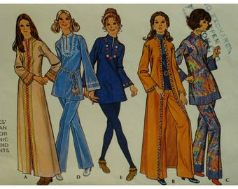 70s Tunic or Caftan Pattern, High Neck, Bell Sleeves, Slit Front Neck, Long/Hip Length, Trim, Pants, Coat, McCalls No. 3050 Size S (8-10)