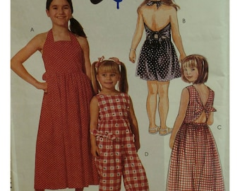Girls backless Sundress, Jumpsuit Pattern, Tie Back, Halter Neck, Full Skirt, Pants, Elastic Ankles, McCalls No. 7102 UNCUT Size 2 3 4