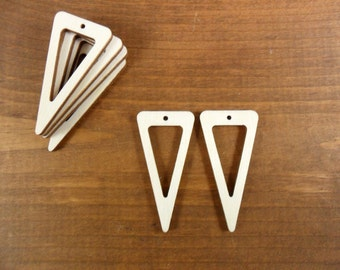 "Wood Triangle Dangle Earring Blanks  2"" H x 1"" W x 1/8"" (50mm x 25mm x 3mm) Laser Cut Wood Jewelry Shapes - 12 Pieces"