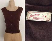 SALE 1950's Brown Button Up Jantzen Sweater Size Small Medium Large by Maeberry Vintage