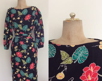 1980's Tropical Floral & Palm Leaf Print Shift Dress w/ Waist Tie and Pockets Size Small Medium by Maeberry Vintage