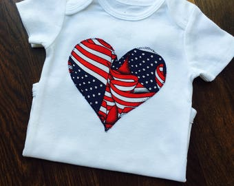 Patriotic Heart Fourth Of July Baby Onesie
