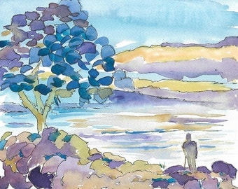 Original Painting, Watercolor, Watercolor and Ink, Landscape Painting, Home Decor, Tree, River, Impressionistic, Blue, 8 X 10 SFA