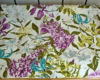 2 Vintage Floral Bark Cloth Curtain Drapery Panels