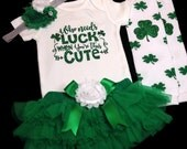 St. Patrick's Day Outfit, St Patricks Day Onesie, Baby Bodysuit, Baby Girl Photo Prop, Baby Girl Outfit, Green Tutu Bloomer, Shamrock,Clover