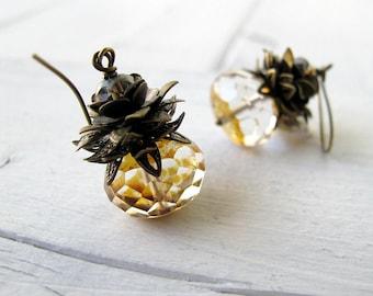 Victorian Style Glass Dangles,  Bohemian Bijoux, Pineapple Earrings, Gothic Dangle Earrings, Vintage Vibe Jewelry, Czech Glass Earrings