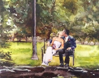 "Watercolor Wedding Portrait - 16"" x 20"" original watercolor painting from your photo"