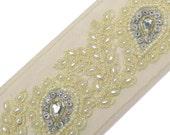 Beaded Trim By The Yard, Embellishments, Decorative Sari Border, Sewing Crafts Ribbon Trim, Headband Making, Indian Trim BT580A